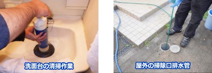 洗面台の清掃作業 屋外の掃除口排水管